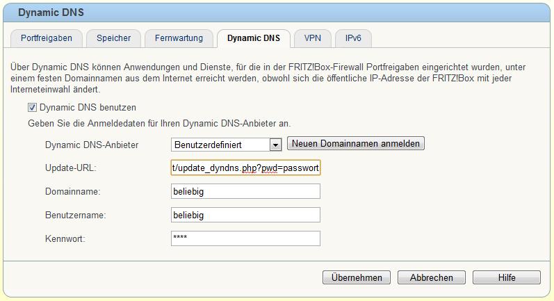 Benutzerdefinierter Dynamic DNS Anbieter mit der Fritz!Box
